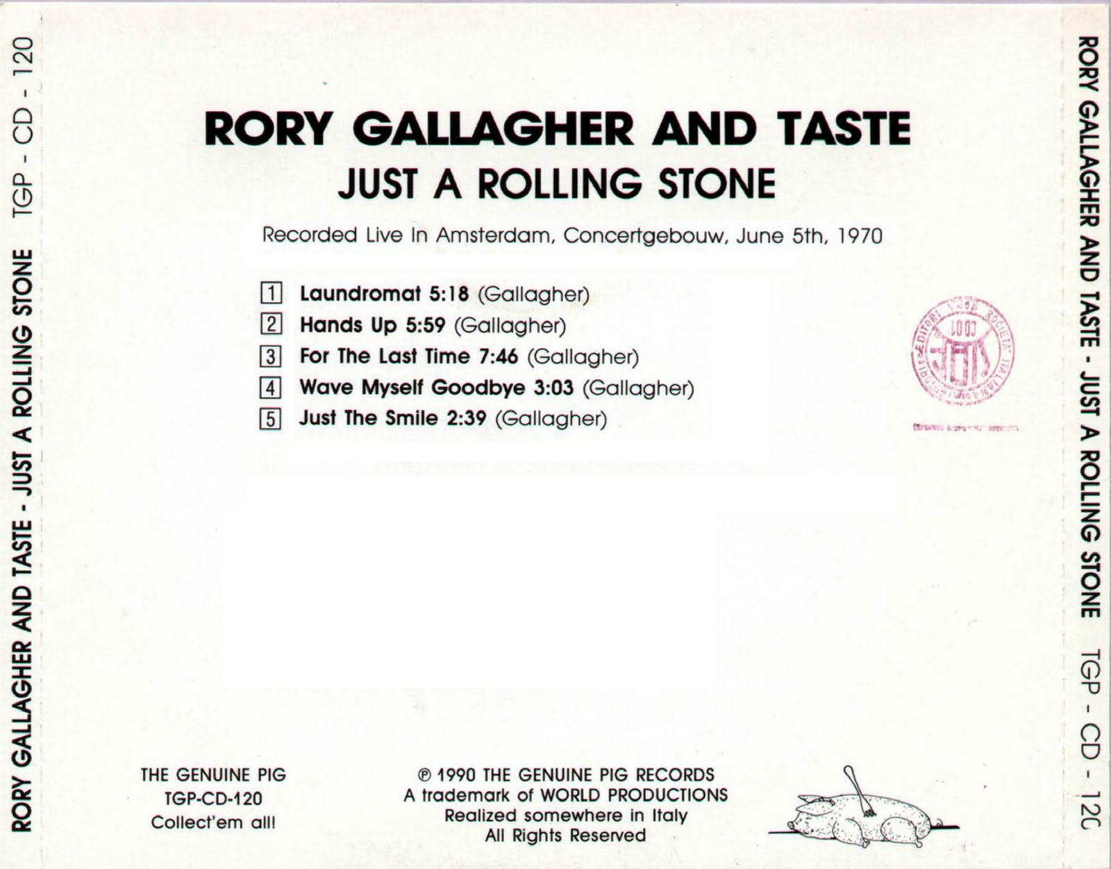 For the Last Time  (Rory Gallagher) TasteRollingStoneBack