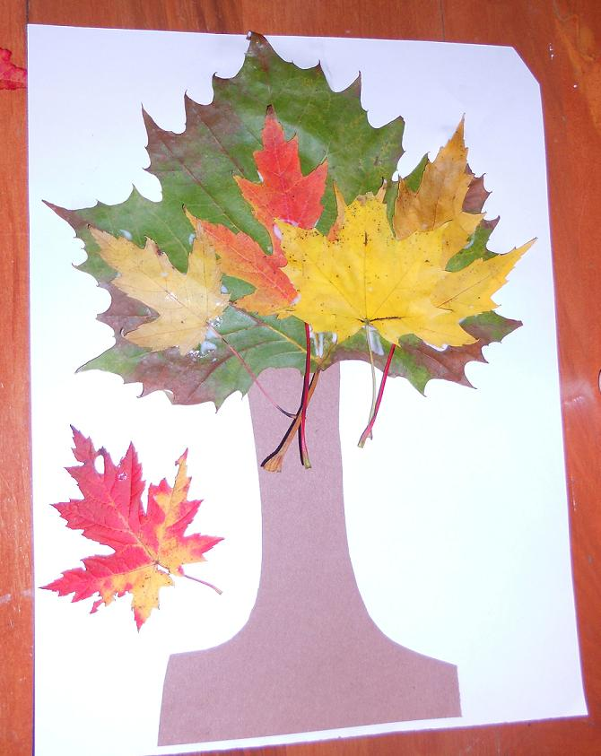Easy Crafts For Kids Tree With Real Leaves