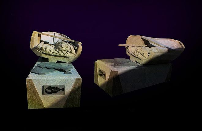 Escultura em granito com 3m de comprimento