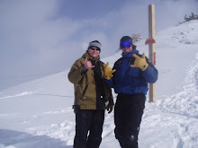 Trev and my dad hiking up the west face of PCM ski resort