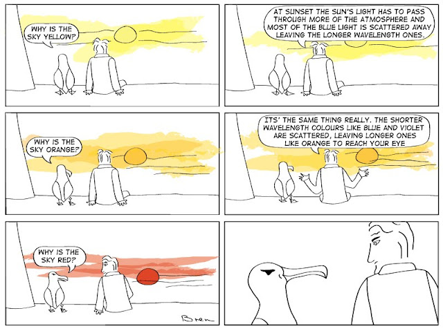 cartoon,gag cartoon,funny,cartoon strip,comic strip,Humboldt,albatross,lighthouse,lighthouse keeper,sea,marine,bird,red sky at night,atmospheric physics,atmospheric conditions,scattered light