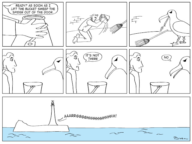 cartoon,lighthouse cartoon,gag cartoon,funny,cartoon strip,carton strip,comic strip,Humboldt,albatross,lighthouse,lighthouse keeper,sea,marine,bird,catch spider
