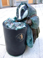Badger at the bin