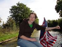 Janine at the tiller