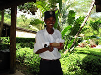 Hostess greeting us at Sarova Lion Hill Lodge