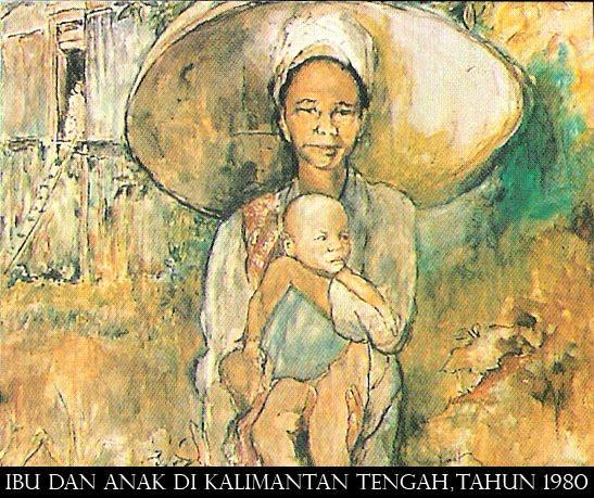 Judul Ibu Dan Anak Di Kalimantan Dilukis Tahun 1980