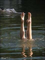 C'est vraiment tranquille, je suis la seule qui se baigne!