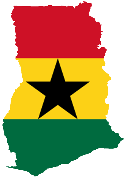 Ghana Black Star Flag Map