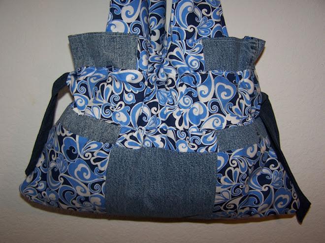Handmade Blue Swirly Heart Handbag