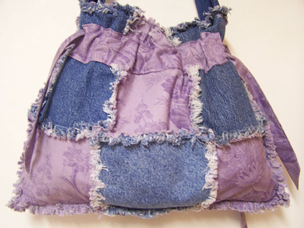 Lilac Floral Drawstring Denim Handbag Purse