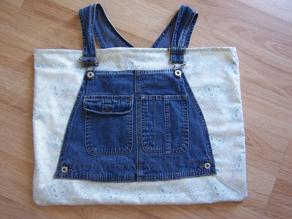Denim Jeans Bib Overall Tote, Market, Craft Bag Oriental Florals