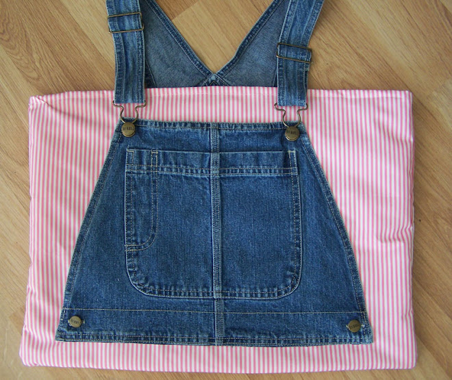 Denim Handbag Tote Purse Girly Baby Pink Stripes Bag