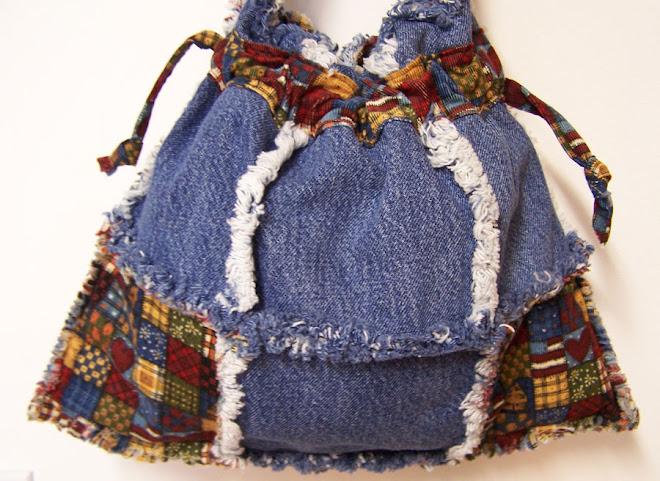 Denim Drawstring Corduroy Rag Tote Bag Purse Cats & Hearts