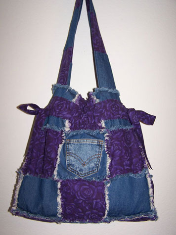 Handmade Purple Roses Handbag