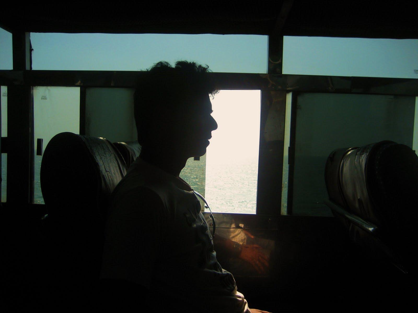 Sea seen through the bus