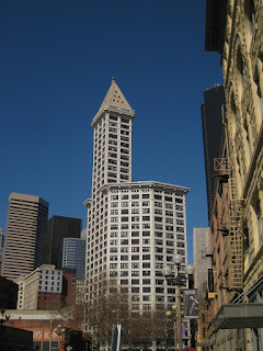 View of Smith Tower from the Ground (from the South)