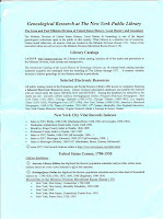 NYC Library Genealogy Resources Page 1