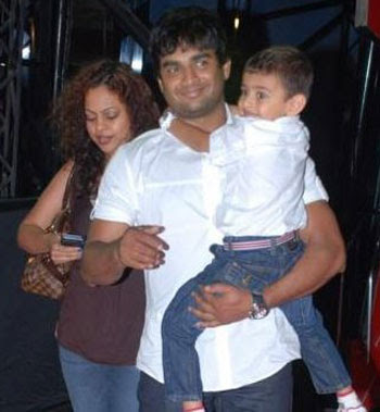 Actor Madavan and his wife Sarita birije and his son Vedant family photo