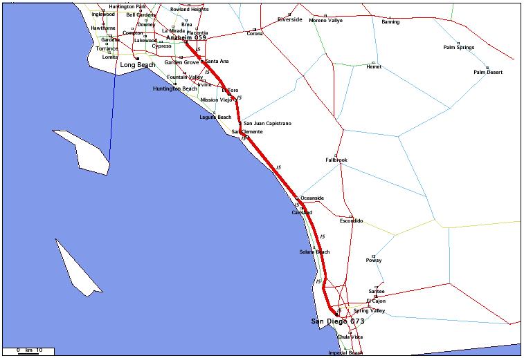 de San Diego, CA 073 à Anaheim, CA 059 / Distance: 150,80 km
