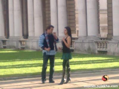 Romantic scene between Salman Khan and Asin in the film 'London Dreams'