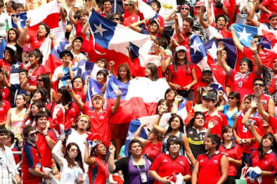 Chilean supporters show their support during the match between Fernando Gonzalez of Chile and Guillermo Canas of Argentina.