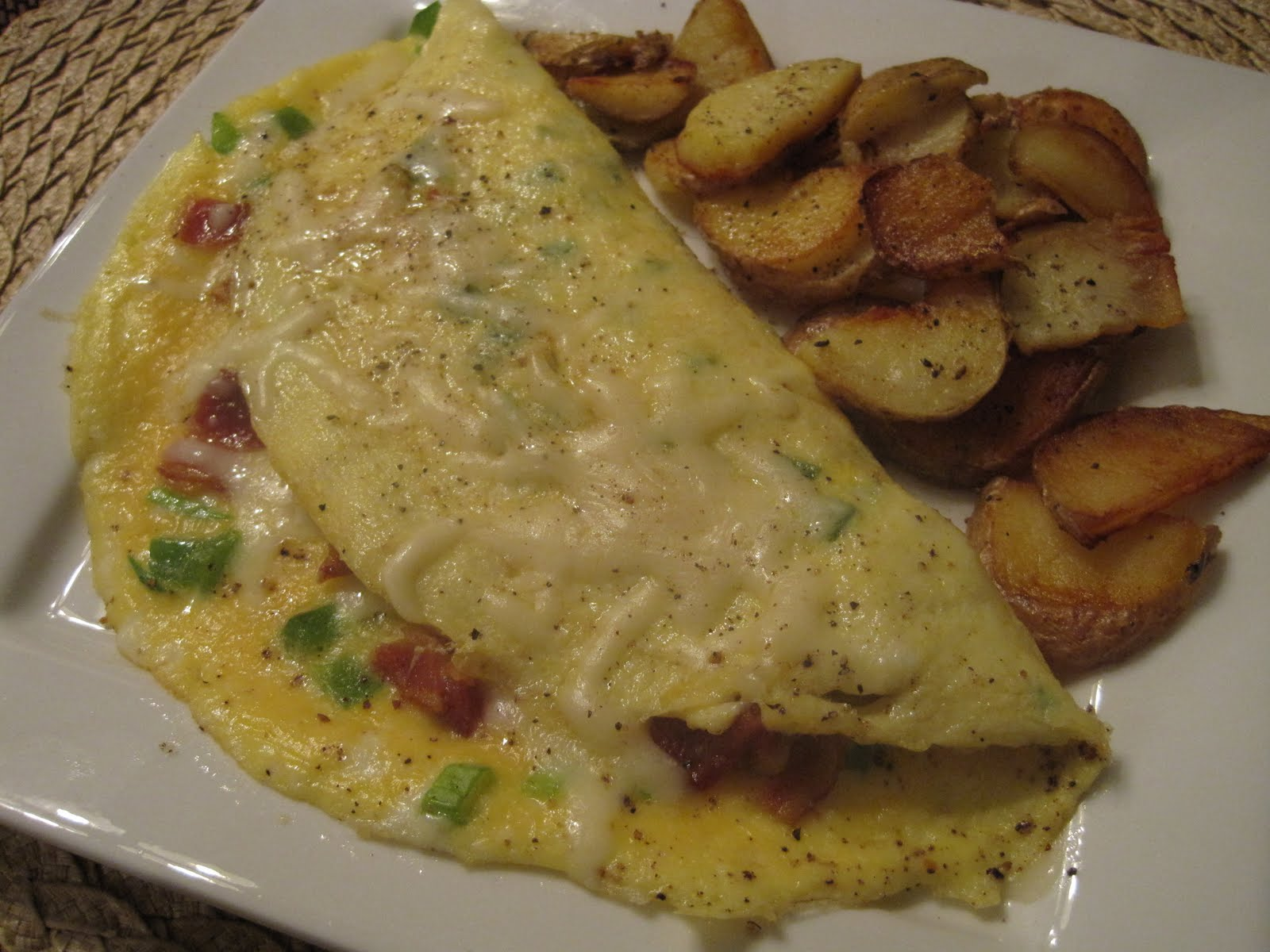 bacon and fried potato omelette bacon and fried potato omelette