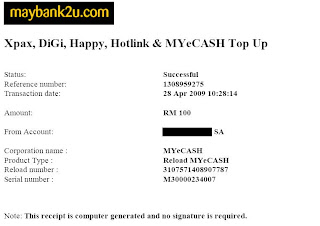 MyEcash (MyMode) Top Up di Maybank2u dah open
