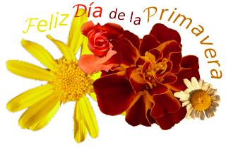 Flores y texto integrados en una composicion simple del día de la primavera