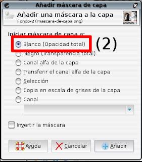 Cuadro de diálogo Añadir mascara de capa - Seteo Blanco (Opacidad total)