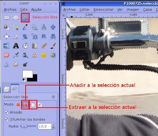 Configuracion de la herramienta de seleccion libre. Alisado. Difuminar bordes: 10. Opciones: Añadir a la seleccion actual y Extraer de la selección actual