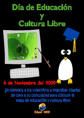 <br />Afiche encuentro Edusol 2009 Dia de la educacion y la cultura libre: Charlas presenciales previas al Edusol