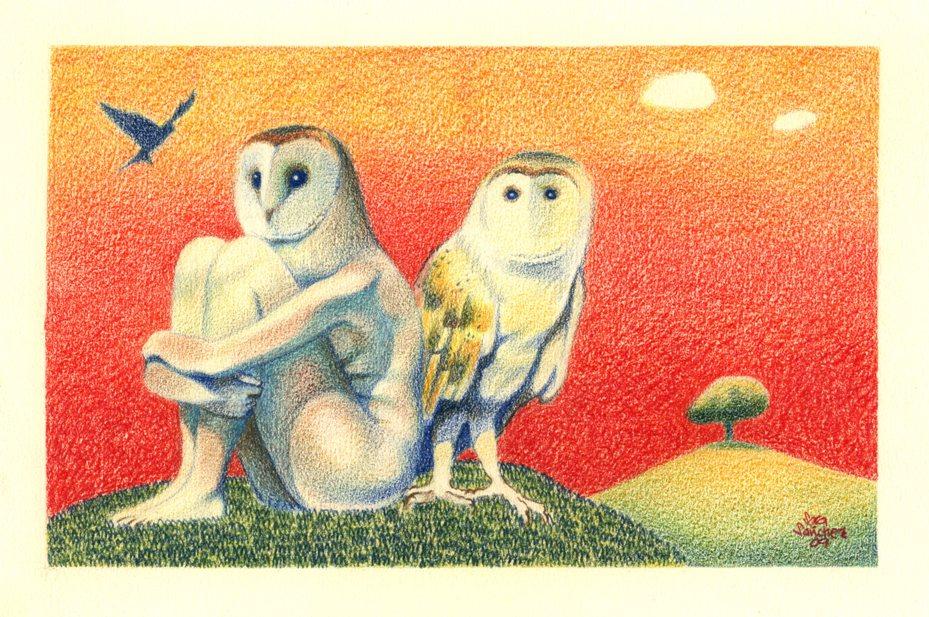 Augurios de Casandra. Dibujo a lápices de colores. Copyright © Sara Sánchez 2009