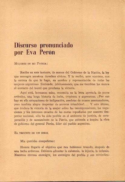 Discurso de Evita por la Ley del Voto Femenino