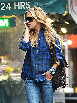 Channel your inner Kate Hudson in plaid shirt, fringe shirt, and turquoise