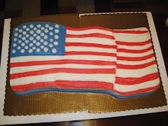 American Flag - 3/4 Sheet Cake