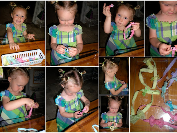 """Tot School ~ """"Pretty"""" Matching, Button Sewing, Sequencing and Scooping"""