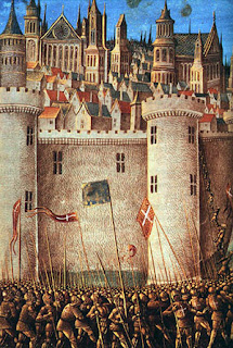 The Siege of Antioch, from a medieval miniature painting, during the First Crusade.