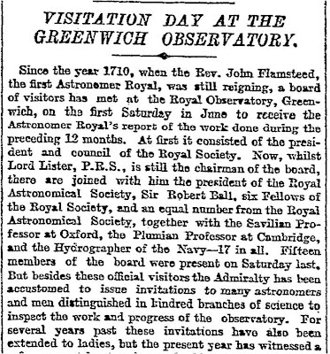 Report on the 1898 Visitation to the Royal Observatory, Greenwich from The Times.