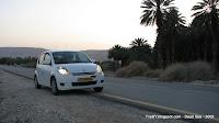 Daihatsu Sirius, авто на прокат в Израиле, TripBY, на фоне финиковой рощи