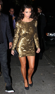 Silver Sequin Dress on Steal Their Style  Kim Kardashian S Gold Sequin Dress