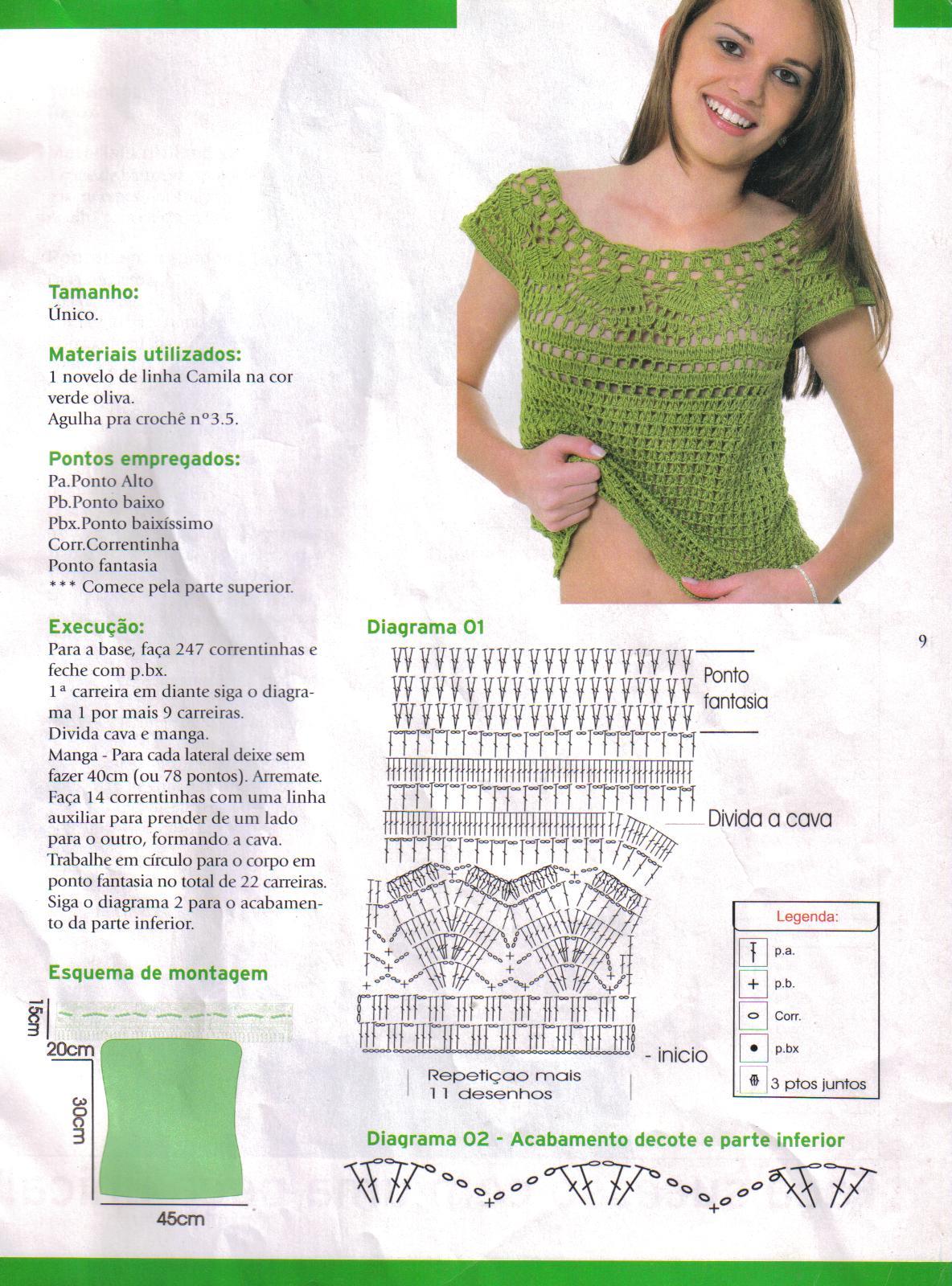 Patrones para hacer blusas tejidas con gancho - Imagui