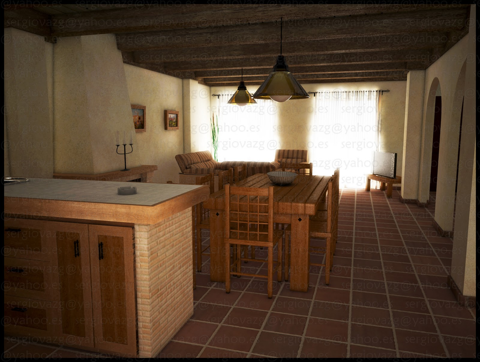 3dgr fica interiores casa rural for Interiores de apartamentos