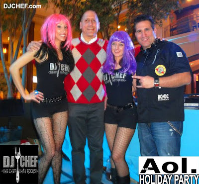 DJ CHEF Rocks the AOL Holiday Party! Culinary Entertainment - cooking, dj, dancing, fun, corporate event