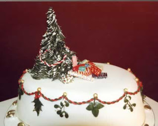 Beautiful Decorated white Christmas cake with Christmas tree photo free religious Christmas pictures and Christmas decorating ideas images download