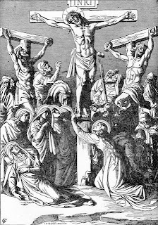 coloring page(black and white picture) of Jesus Christ Crucifixion on Cross download free Christian cross cliparts(clip arts) and Jesus images