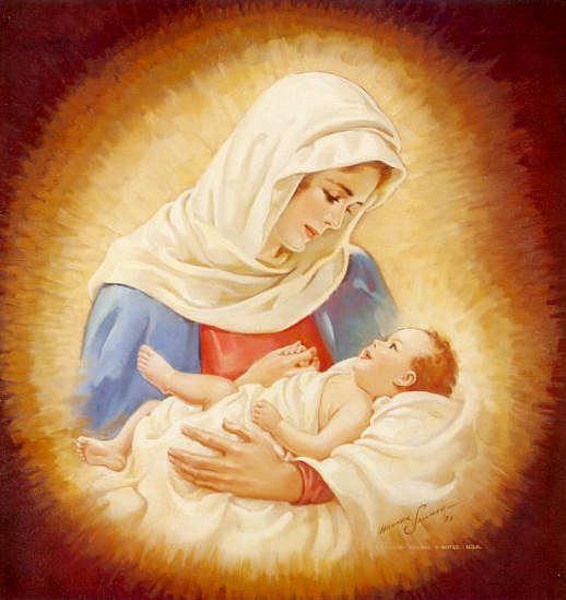 Beautiful canvas drawing of Virgin(mother) Mary and child Jesus in her lap free Christian coloring pages and bible clip arts(cliparts) download