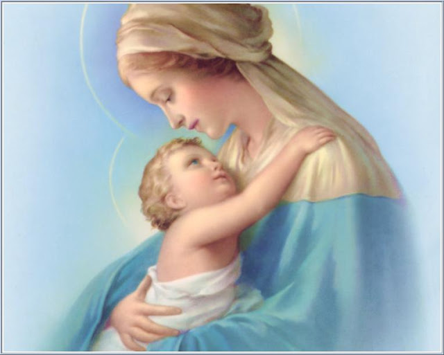 Beautiful drawing of child Jesus looking at Mother(virgin) Mary in her hands download free religious pictures and Christian images