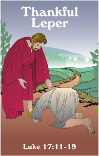 The thankful leper got healed by Jesus Christ clip art image of Luke 17:11-19 verse free download bible coloring pages and Christian pictures