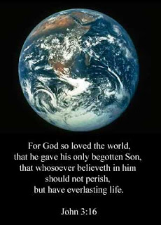 Earth and black background image of John 3:16 bible  verse about Jesus and God download free Christian photos and bible coloring pages for children