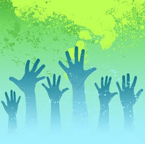 Worship hands raised picture with green color background free Christian desktop images and God Jesus Christ pictures download